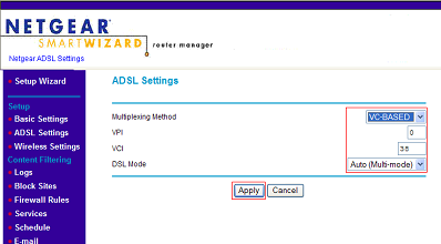 Apply ADSL settings