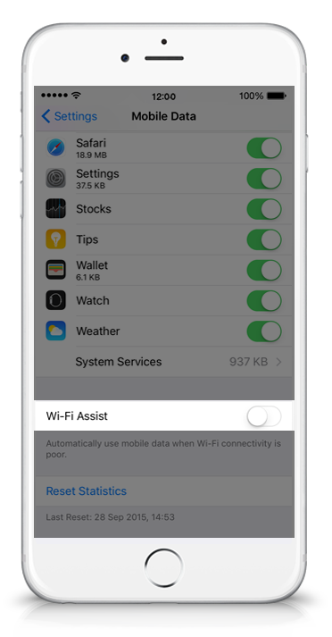 Wi-Fi Assist on an iPhone