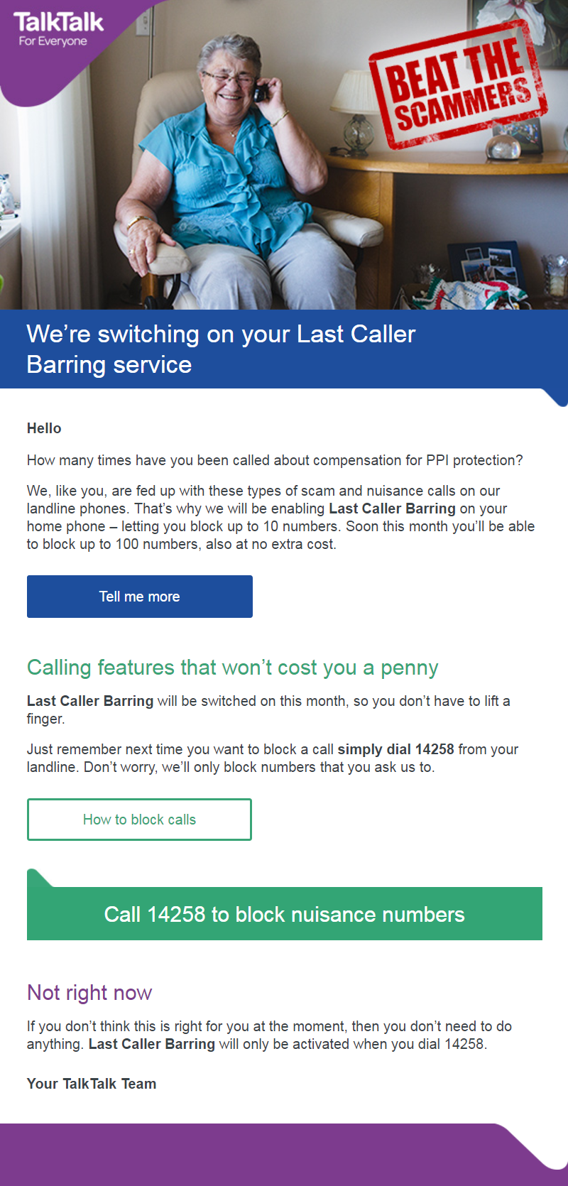 To Protect You From Scammers And Unwanted Calls, We're Switching On Caller  Display And Last Caller Barring For All Of Our Customers