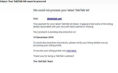 Your TalkTalk bill cannot be processed